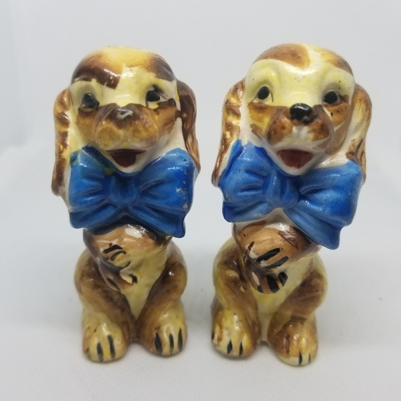 Japan Other - Vintage Salt & Pepper Shakers Happy Dogs W/Bowties